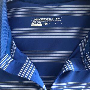 Blue and White Stripe Nike Golf Shirt Large